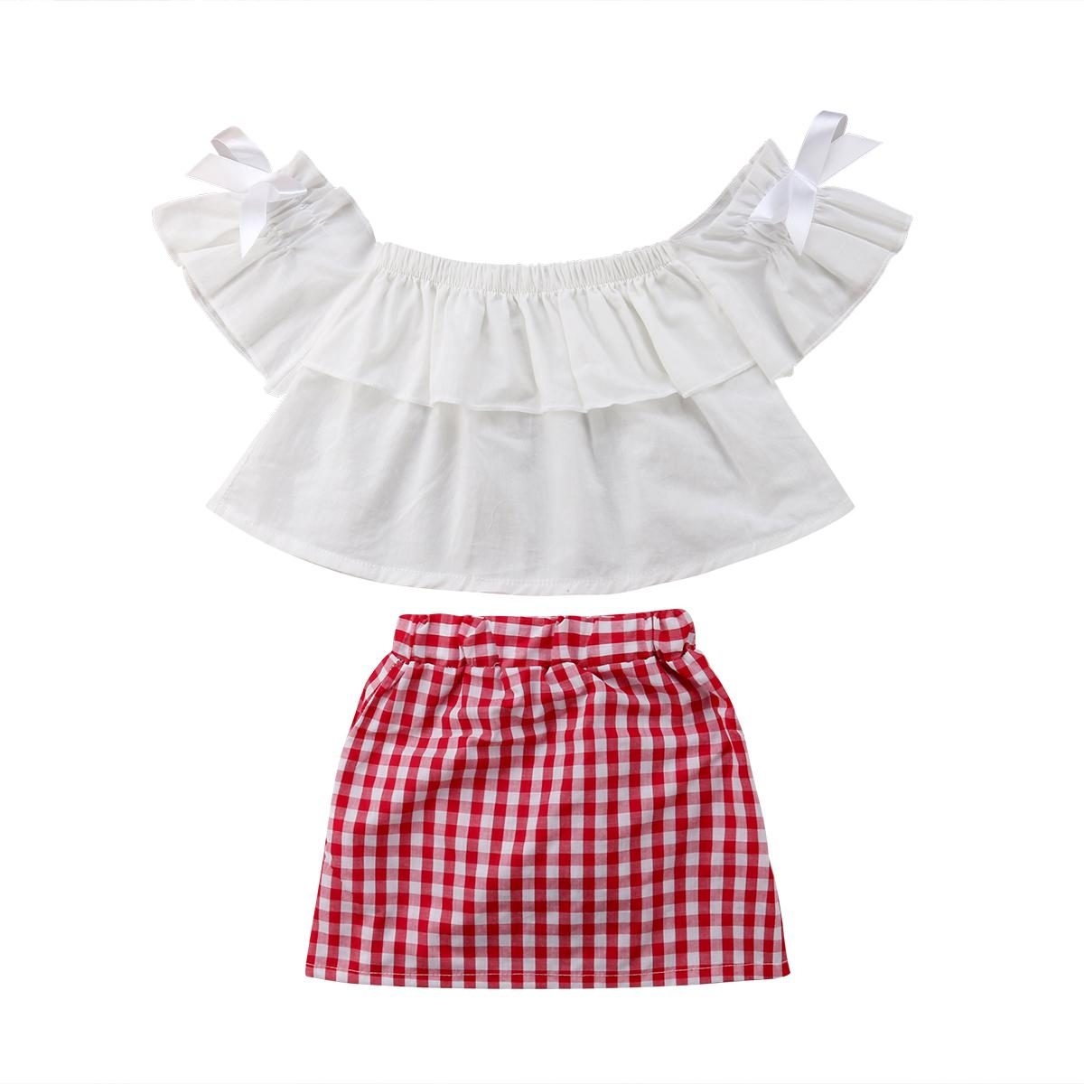 Clothing, Shoes & Accessories 2pcs Cute Children Outfits Kids Girls Plaid Short Sleeve Off Shoulder Tops Outfits & Sets