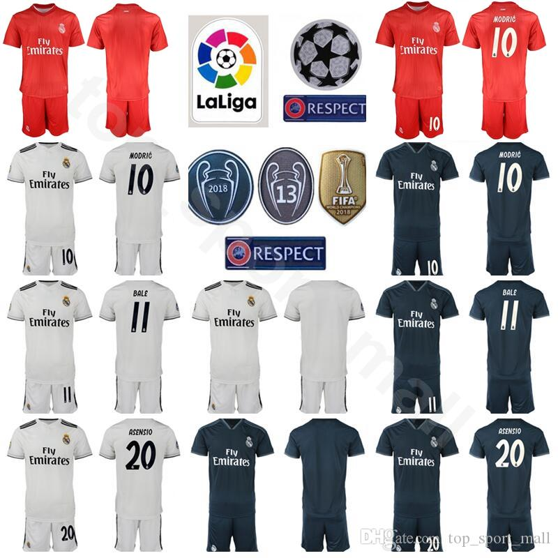 check out dc13e 831db La Liga Real Madrid 10 Luka Modric Jersey Set Soccer 11 Gareth Bale 20  Marco Asensio Football Shirt Kits Uniform Custom Name Number