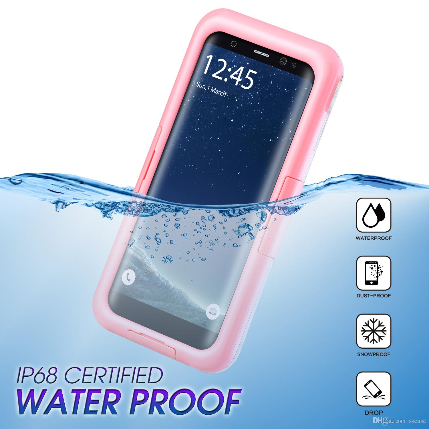 new arrival b03f2 bbe07 For Galaxy S9 Waterproof case water Shock Dirt Snow Proof Protection for  Samsung Galaxy S9 S8 Plus Note 8 for iPhone 8 X With Touch ID Cover