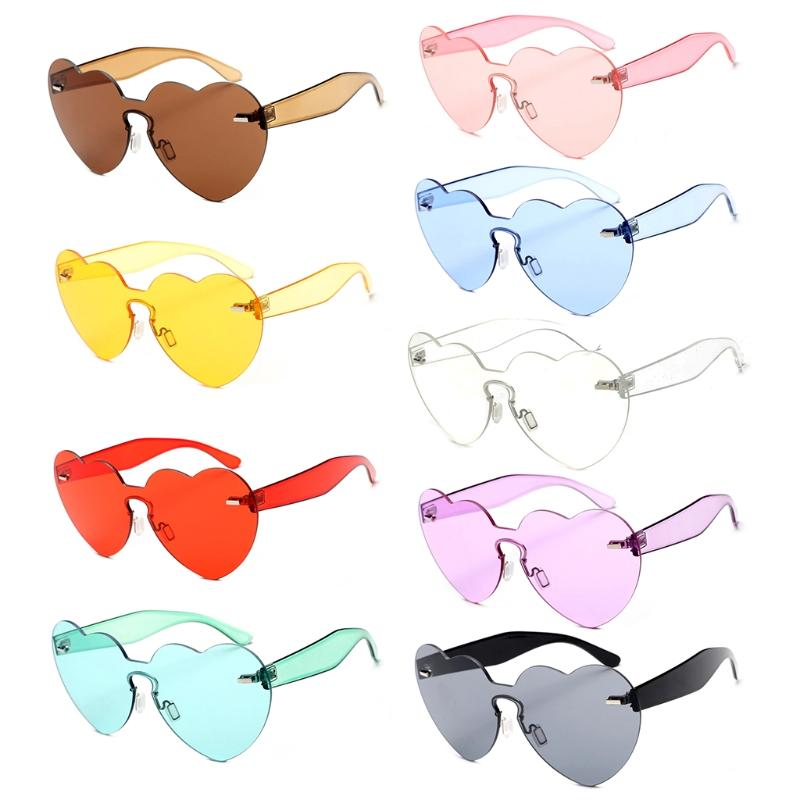 ea3dd9170c Heart Shape Sunglasses Rimless Women Love Colorful Tint Lens Shades  Transparent Cheap Prescription Sunglasses Oversized Sunglasses From Jutie