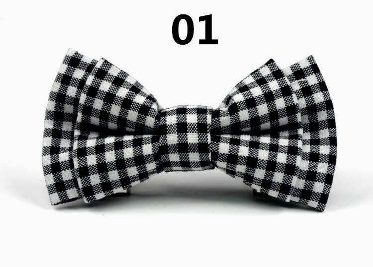 Melhor crianças gravata borboleta de algodão pino de segurança xadrez miúdo animal de estimação cão borboleta verifica 9 * 5 cm Bowknot decorado / lote