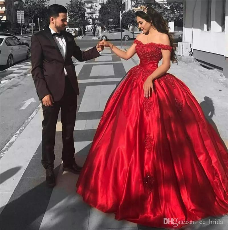 Elegant Red Quinceanera Dresses 2018 With Lace Applique Masquerade ...