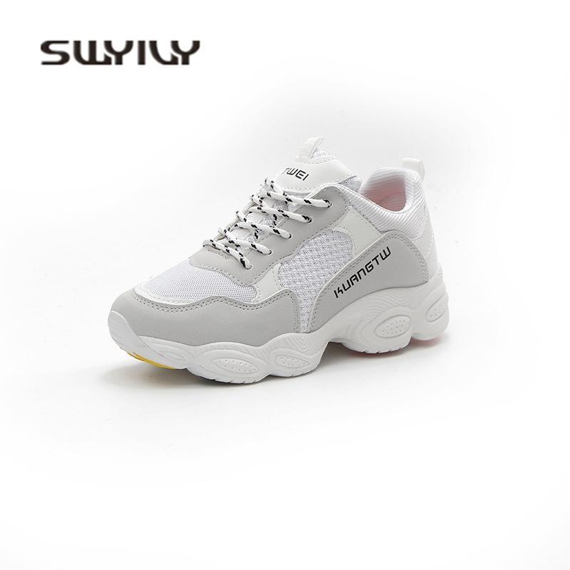 Damen Weiß Plateau Sneakers Swyivy Großhandel Frühling 2018 axTYfwq