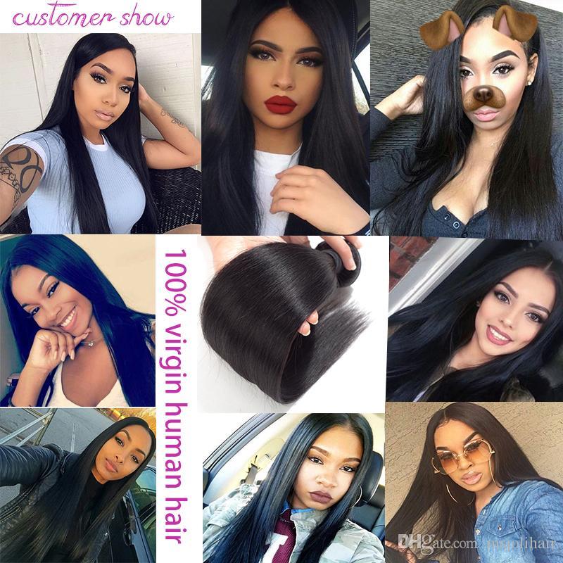 Perulu Brezilyalı Virgin İnsan Saç Dokuma İşlenmemiş İpeksi Düz Doğal Renk 4x4 Dantel Kapatma Ile 3 Demetleri Malezya Hint Saç