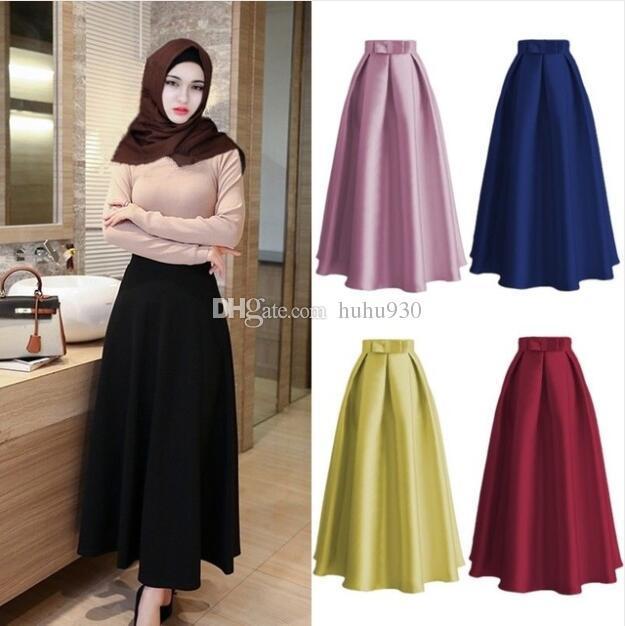 2344dc0cb 2018 moda musulmana mujeres faldas largas plisadas maxi ocasional de  cintura alta señoras vestido Abaya vestidos ropa 5 colores
