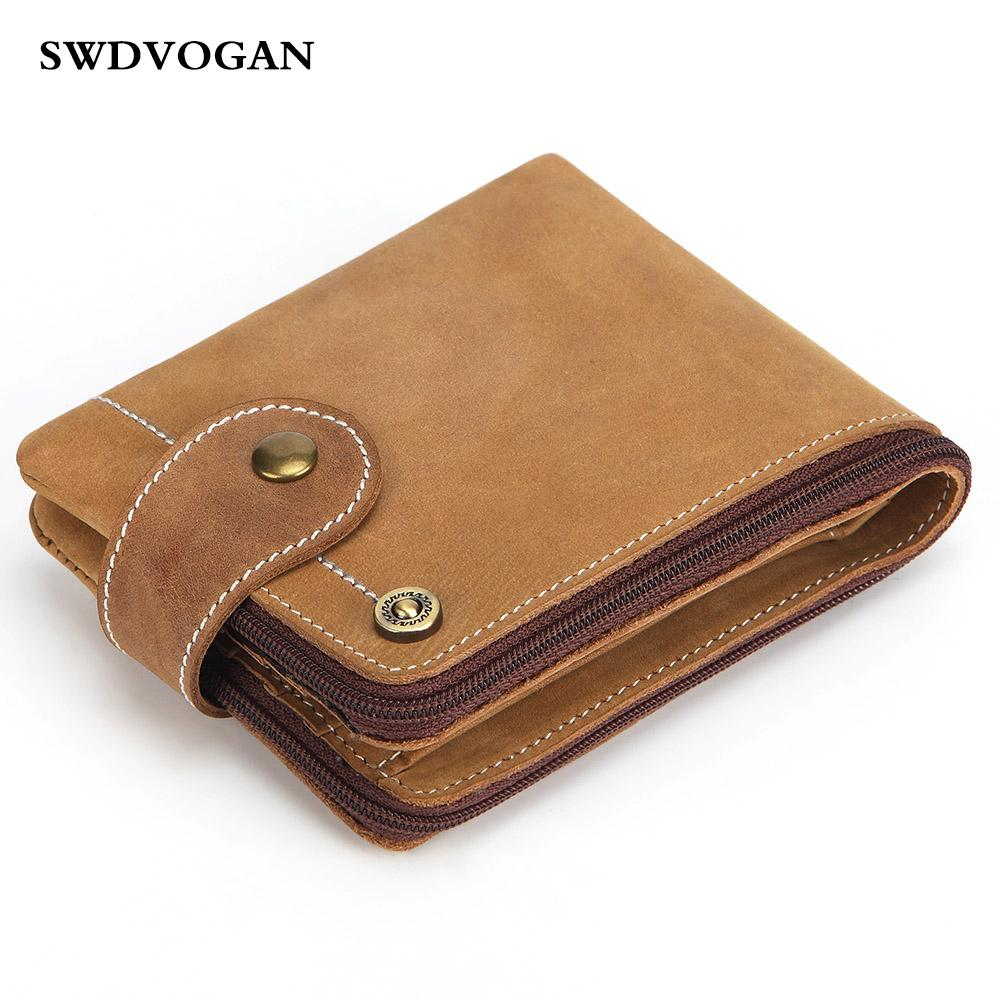 ffc22e832f23 Crazy Horse Genuine Leather Mens Wallet Man Purses Wallets Rfid Cowhide  Cover Coin Purse Small Brand Male Walet Carteira Vintage