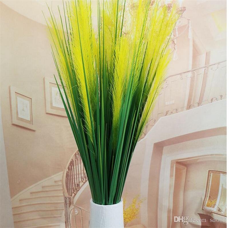 Mode Fleurs Artificielles 120 cm 2 Têtes De Soie Reed Grass Maison Créative Maison De Noce Favor Décoration Faux Plantes Vente Chaude 6 8yl YY