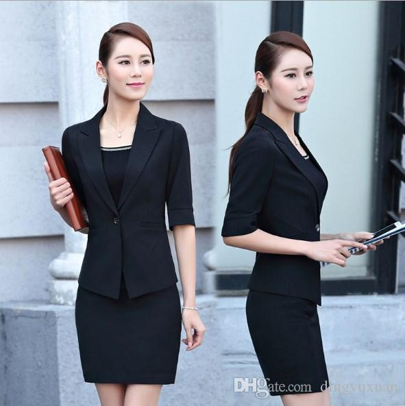 b3d8ed1a6974 2019 Women Formal Wear Business Suit With Skirts Female Work Outfit Black  Red Ladies Half Sleeve Blazer Skirt Suit Plus Size 3XL 4XL From Dingyuxuan