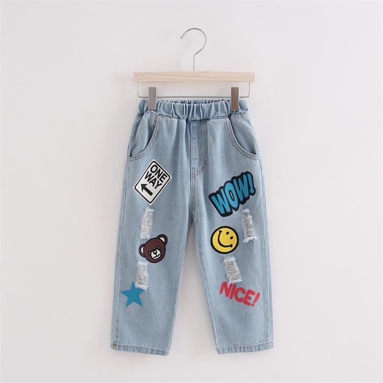 Compre Patrón De Dibujos Animados Lindo Niños Jeans Primavera Otoño ...
