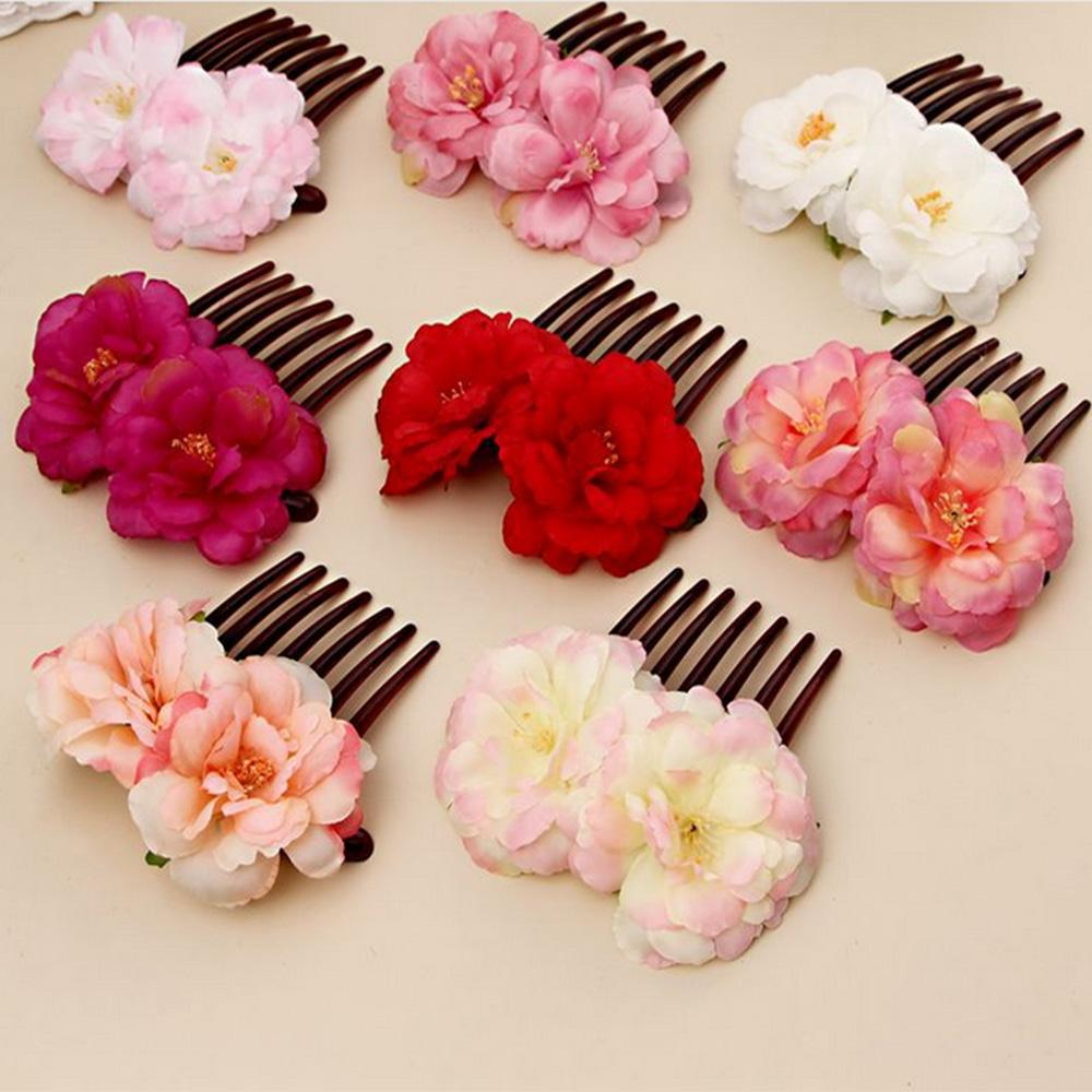 Romantic Fancy Double Silk Artificial Rose Flower Hair Comb Purple