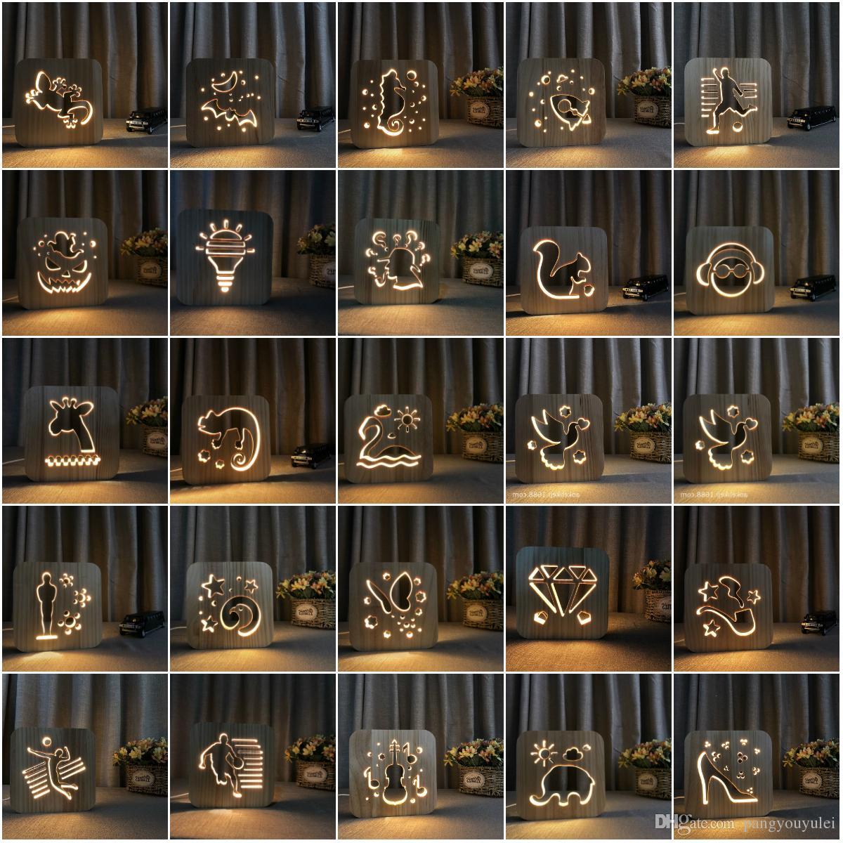 3D Лампа Goldfish животных Резьба по дереву шаблон светодиодные USB Power Деревянный ночник, LED стол стол Главная спальня Украшение лампы