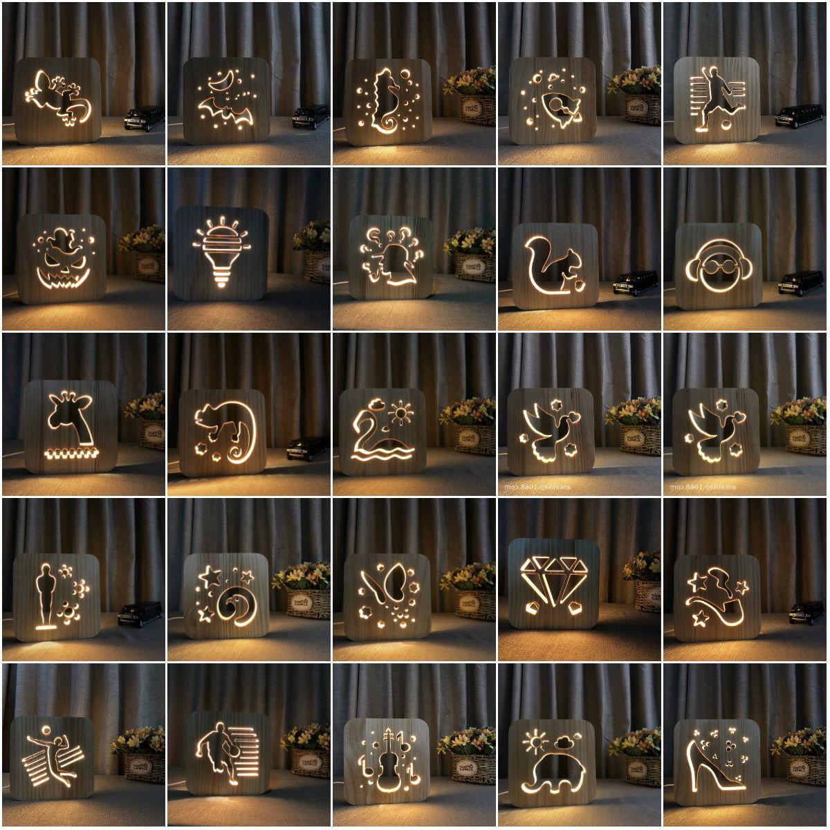 3D Lamp Panda animal Wood Carving Pattern LED Light USB Power Wooden Nightlight, LED Table Desk Home Bedroom Decoration Lamp