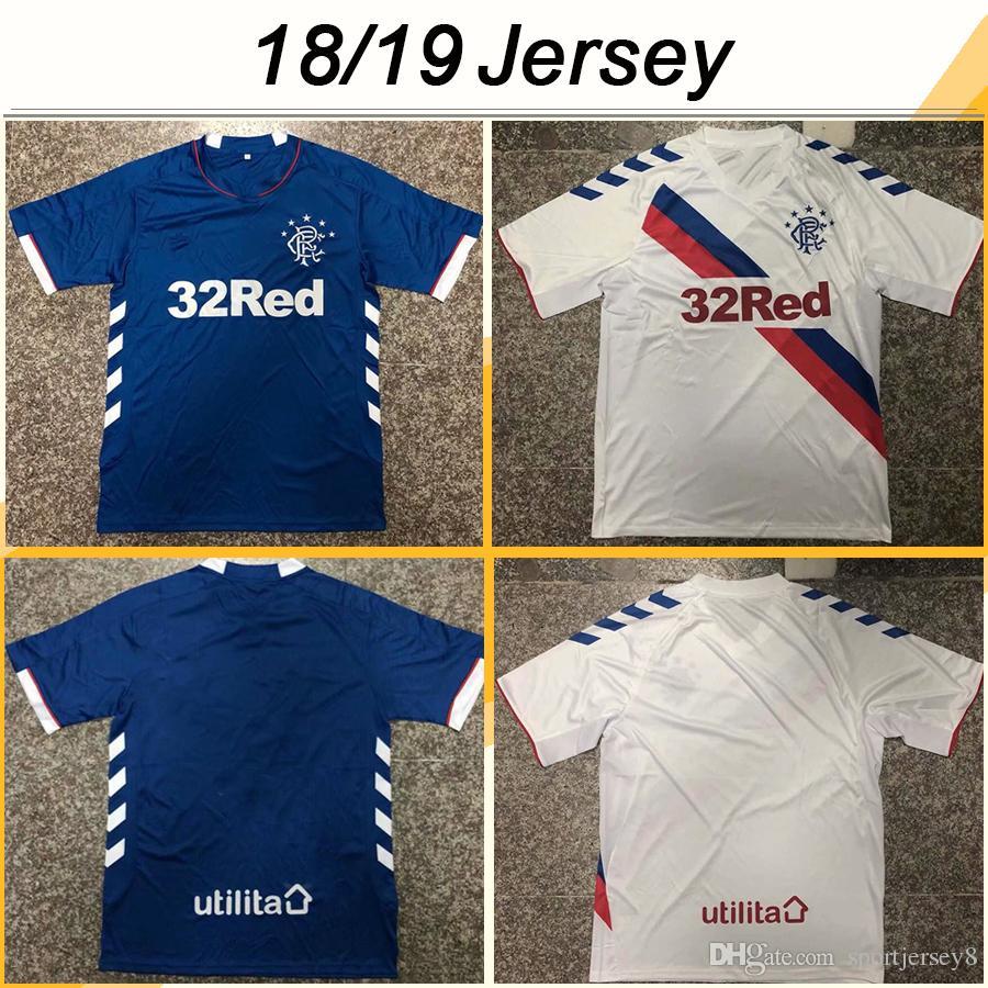 403d8e312 2019 2018 19 Glasgow Rangers 8 GERRARD Soccer Jerseys Glasgow Rangers Mens  Home Away Football Shirts Top Thailand Quality Short Sleeves Uniforms From  ...