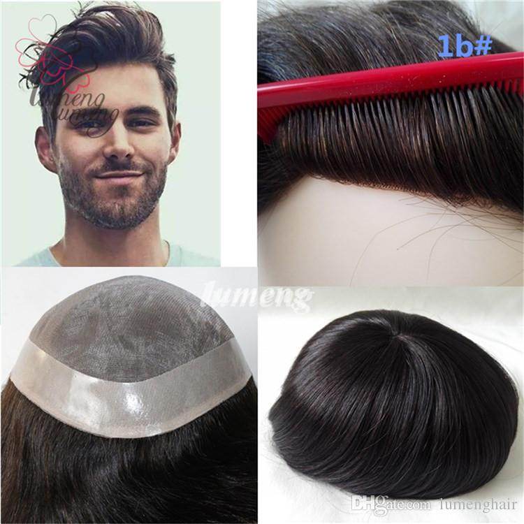 Mens Wigs Mono With NPU Base Human Hair Men Toupee Durable Mens Hair  Replacement System Mens Bald Wig 1B Natural Black Color UK 2019 From  Lumenghair 6e4d386893ab
