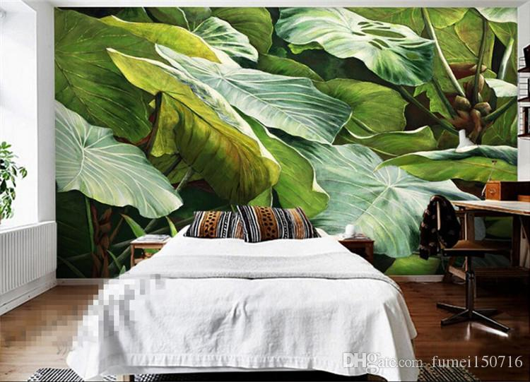 Southeast Asian Style Tropical Rainforest Green Leaves Photo Wallpaper Kitchen Living Room Restaurant Modern Simple Home Decor Any Size Cheap