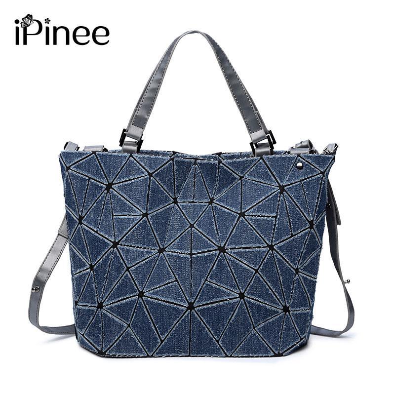 IPinee Women Denim Handbags Casual Blue Tote Bags Feminine Geometric ... 3263d0cf5