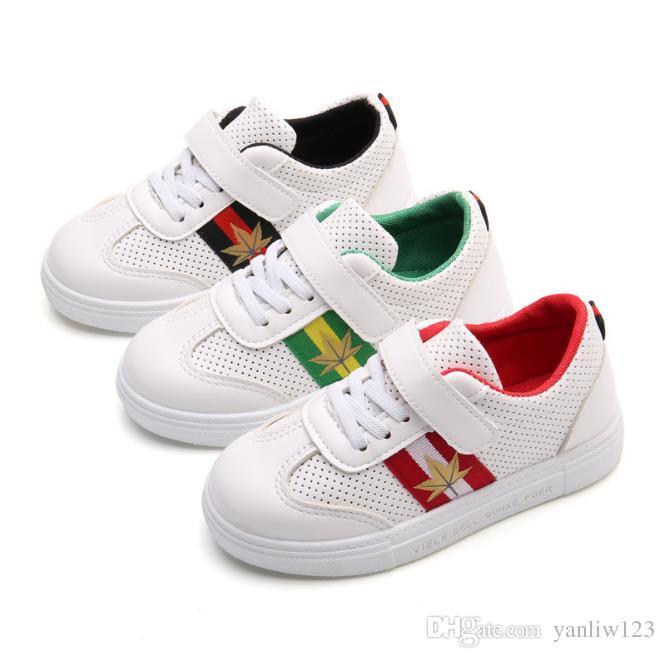 Pour Bébé Casual Courir Plat Garçons Chaussures Enfants Mode Sneakers Blanc Lumière Sports Respirant Pu Cuir Filles Doux IYf6b7yvmg
