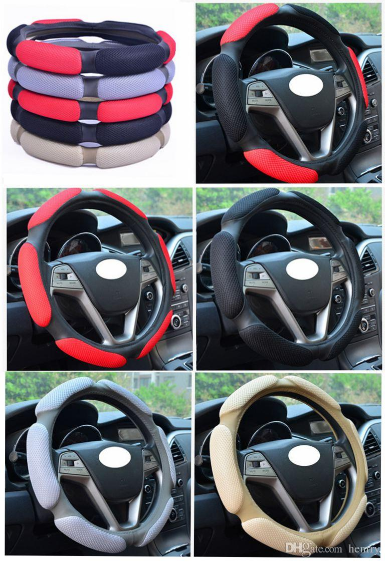 Sandwich Steering Wheel Cover 15 Inch 38 CM Car Steering Wheel Cover Sport Type Skidproof Breathability Multiple Colors Refreshing Instock