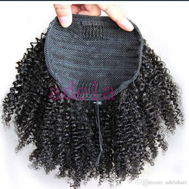 Афро кудрявый вьющиеся синтетические волосы хвостик для чернокожих женщин бразильские девственные волосы шнурок хвост наращивание волос 8 дюймов
