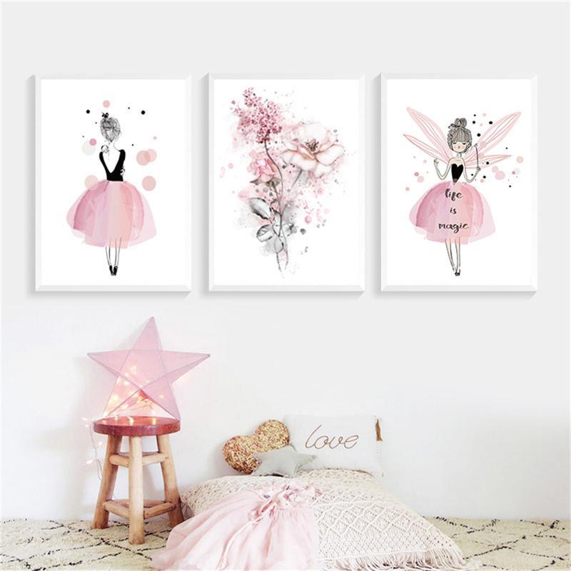 Acheter Aquarelle Rose Princesse Toile Peintures Fleurs Mur Art Affiche  Nordique Photos Pour Filles Chambre Home Decor Peinture Sans Cadre De  $32.85 Du ...