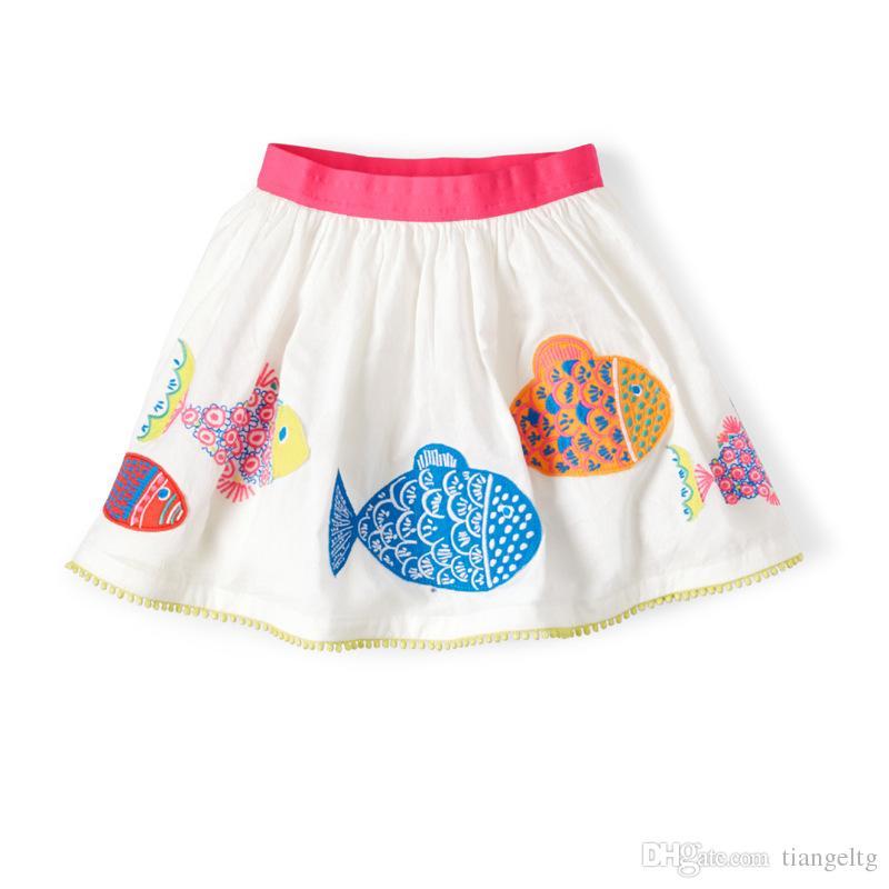 b9de563cf6b5 2019 Girls Skirts Fish Print Whale Cartoon New Summer 100% Cotton Bottom  Dress Elastic Band Lace Up 18M 6T From Tiangeltg
