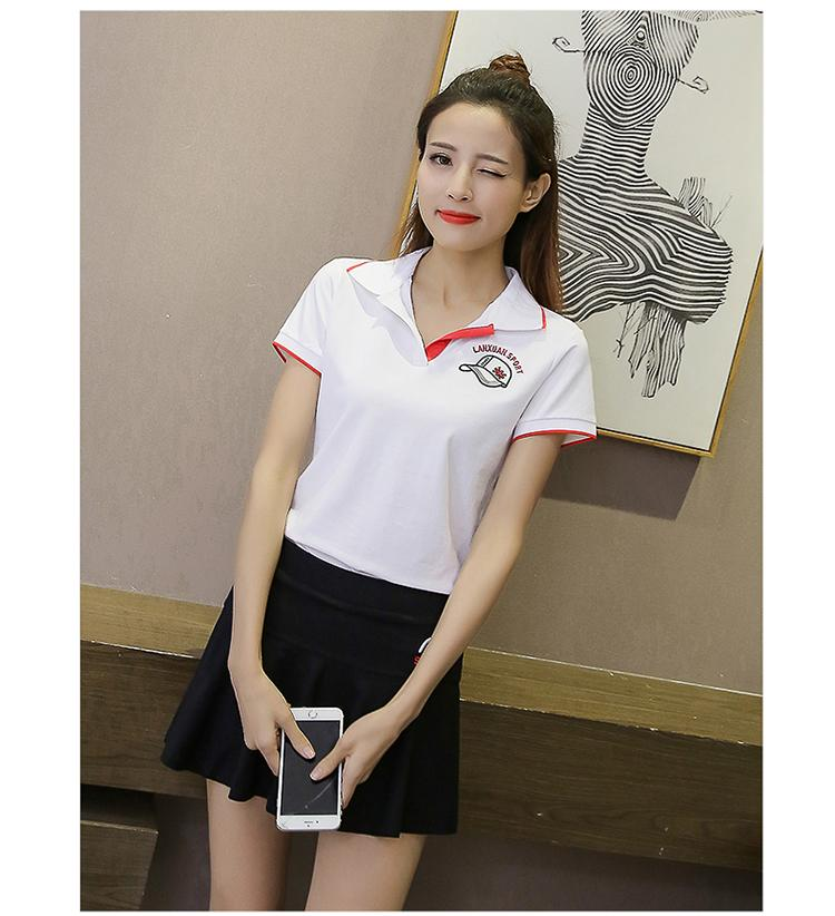 2018 New  Shirt Women Short Sleeve s Mujer Turn-down Collar Embroidery Mujer White Yellow Red  Shirts  Set Femme