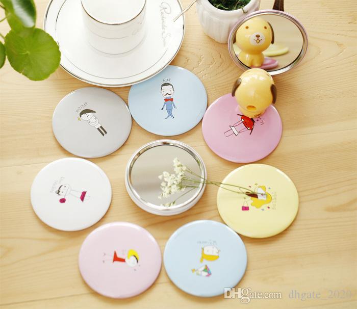 뜨거운 판매 소형 거울 소녀 미니 포켓 화장 거울 화장 귀여운 귀여운 만화 주머니 손 원형 화장 거울 DHL