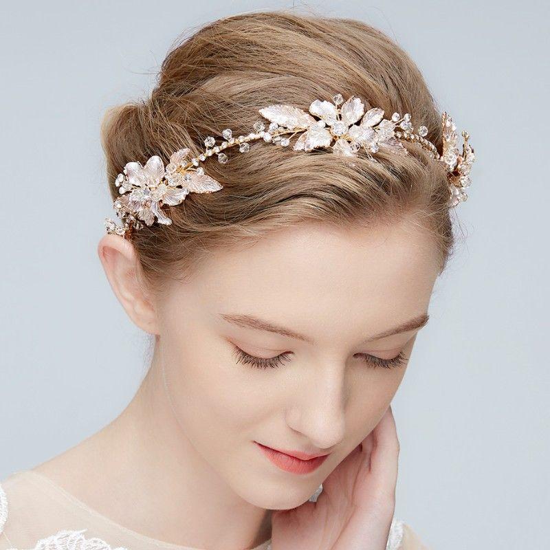 Boho Crystal Bridal Headband Tiara Gold Leaf Wedding Hair Crown Accessories Women Hair Ornaments Piece