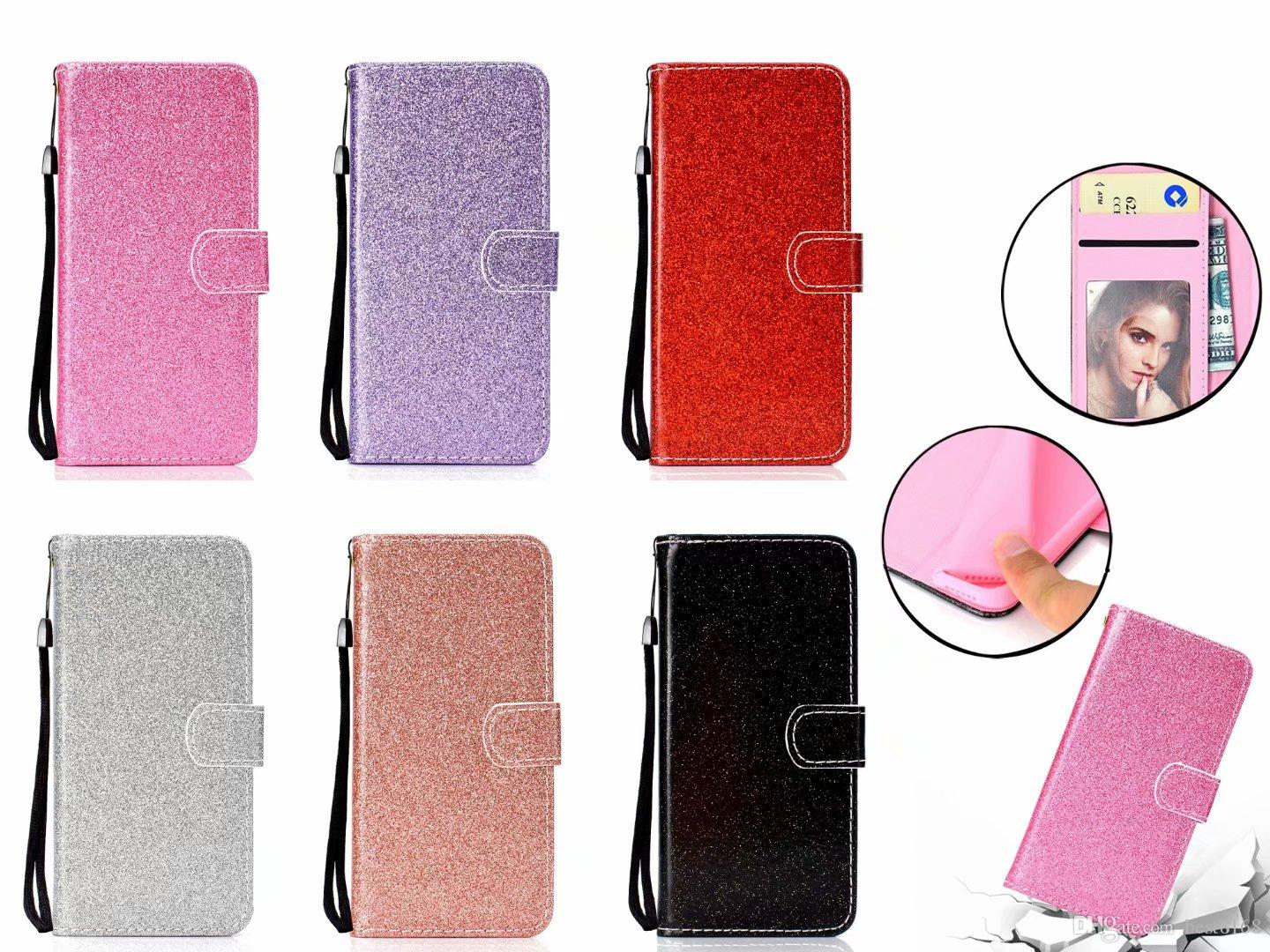 Luxury Bling Glitter Wallet Leather Case For Iphone XR XS MAX XS X 8 7 Plus  6 6S For Redmi 5 Note 5A Sparkly Flip Cover Sparkle Shiny Strap 0972943e4