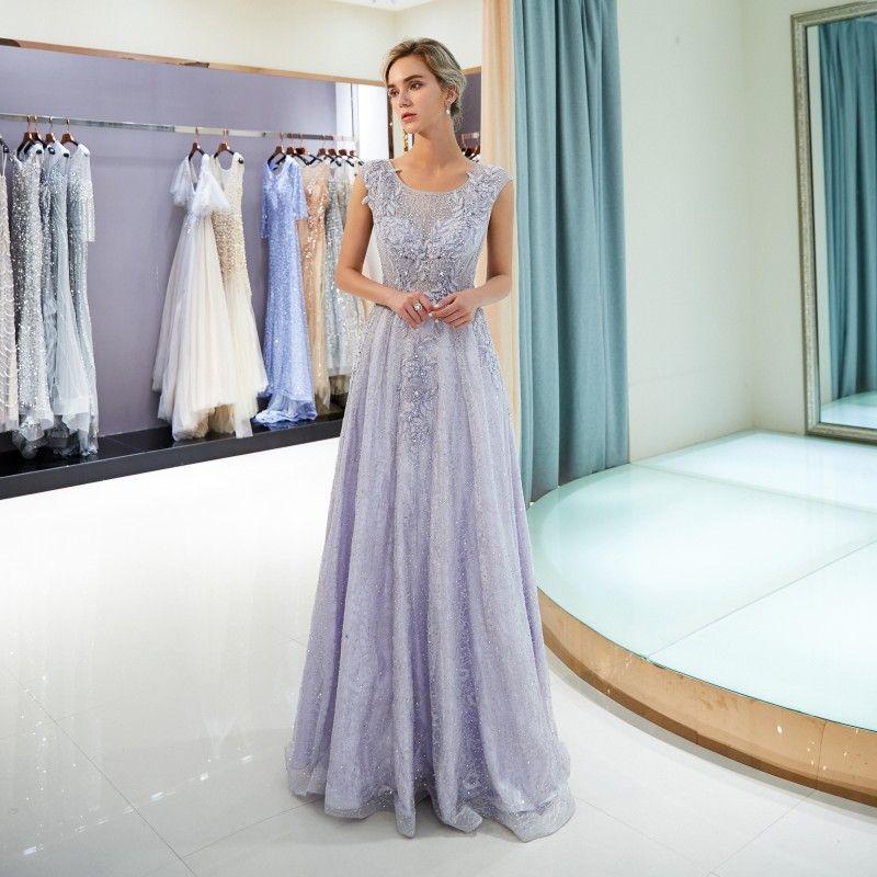 Großhandel 2018 Light Lavender Abendkleider Juwel Sleeveless A Line ...