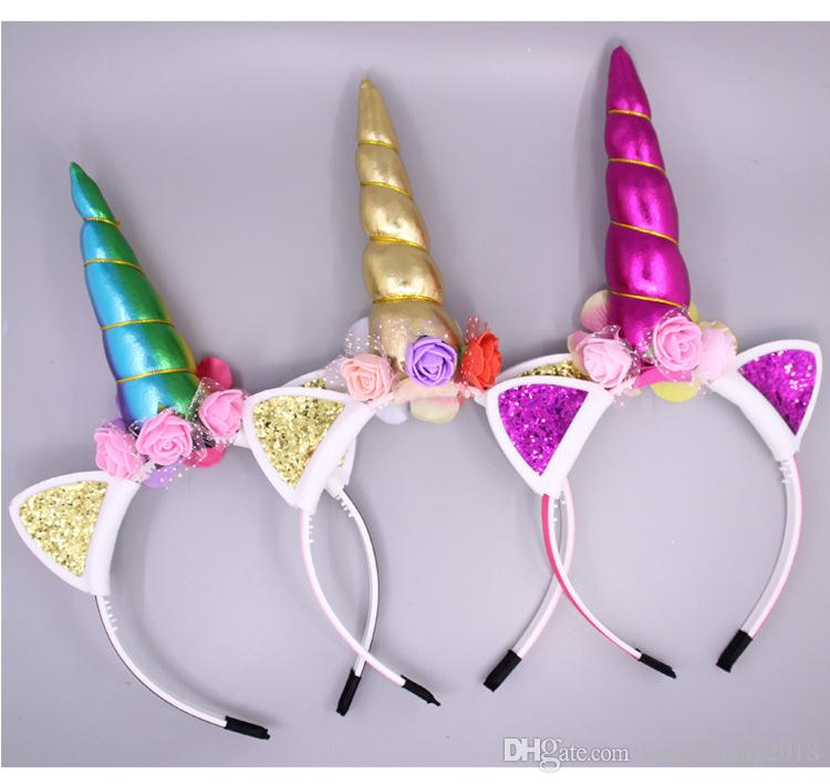 Multi-Color Suitable For All Kinds Of Party Children Can Be Customized Bulk  Cloth Headdress Unicorn Cartoon Headband f58a33d58c0