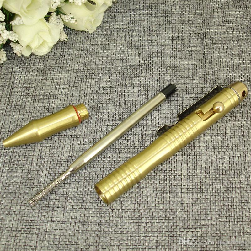 Hand-made Brass Ballpoint Pen with Glass Breaker Tool - EDC Solid Pen for Outdoor Tactical Pens With Packaging Box - Mens Gift