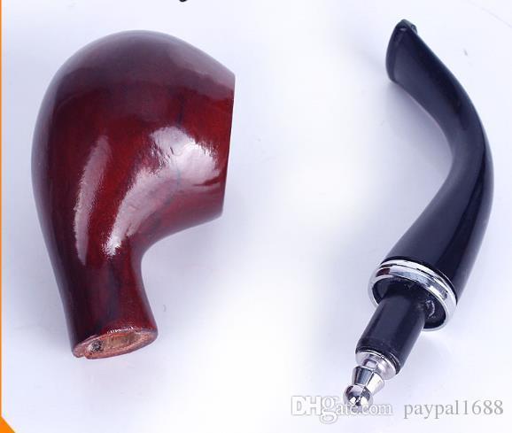 Gerçek - Ahşap Manuel Tütün Boru Filtreleme Reçine Boru Taklit Kırmızı Ahşap Boru