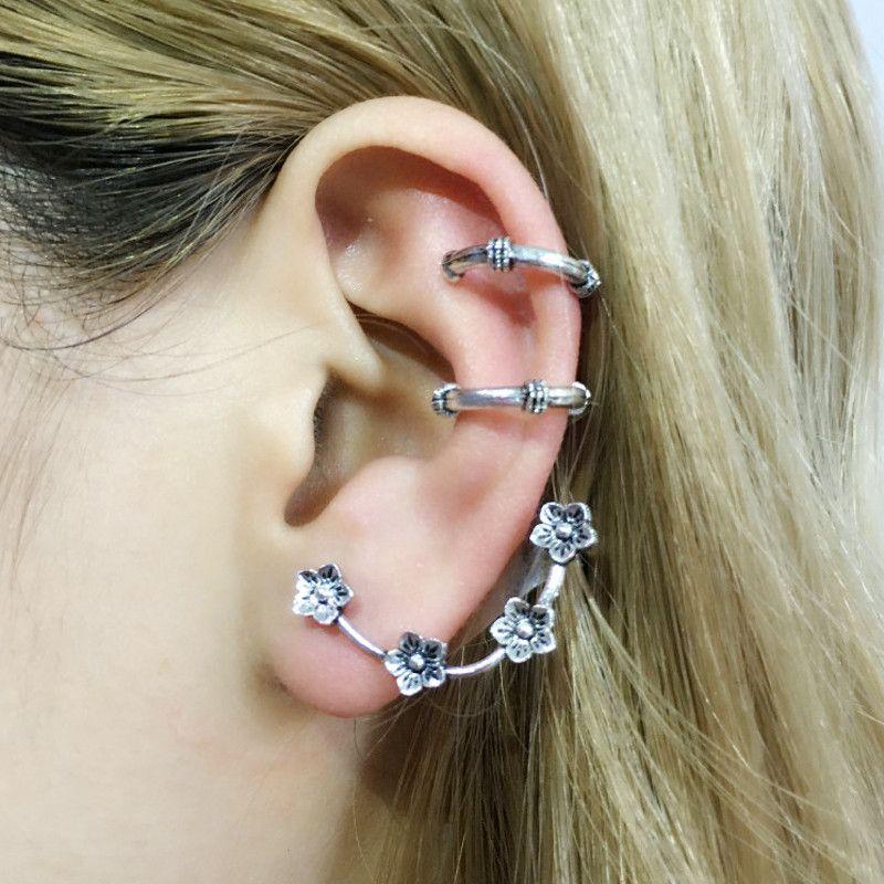 New Vintage Punk Ear Piercing Tragus Earring Set Women Plant Flowers Shape Retro Ear Cuff Clip Earrings Set Female Body Jewelry