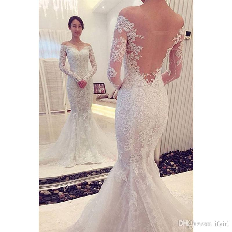 33c2c1d65a0 2019 Sexy See Through Back Lace Mermaid Wedding Dresses Sweetheart Long  Sleeve Appliques Wedding Dress Vestido De Novia Sheath Wedding Dresses  Wedding ...