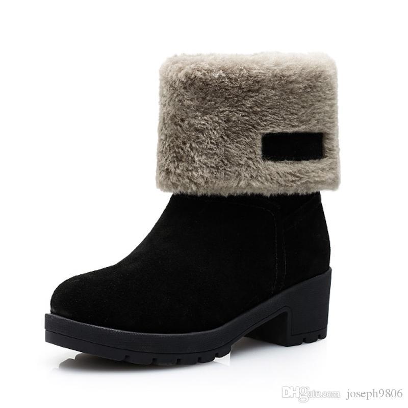 bcdc40d5ce0 Compre Suela Blanda Botas De Nieve Moda Para Mujer Botas De Invierno Tacón  Medio A  41.47 Del Joseph9806