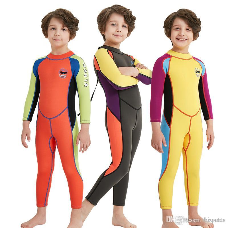 c9390fe105 2019 DIVE SAIL 2.5mm Neoprene Children Wetsuits Kids Diving Suits Long  Sleeved One Piece Surfing Clothes Patchwork Swimwears For Boys From  Dysports