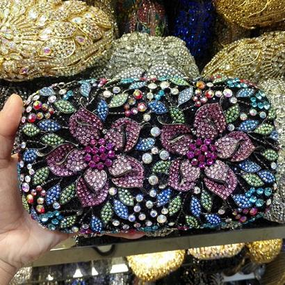 Flower Pattern Evening Bag Blue Luxury Crystal orange Evening Clutch Bag Gold Diamond Party Purse Silver Banquet bag 88165