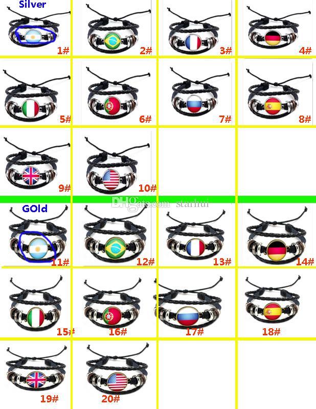 Fuentes del partido de DIY Pulsera de Cuero Punky Mujeres Hombres Encanto Bandera Nacional Pulsera Copa Mundial de Fútbol Deporte Decoración Del Partido Regalos WX9-501