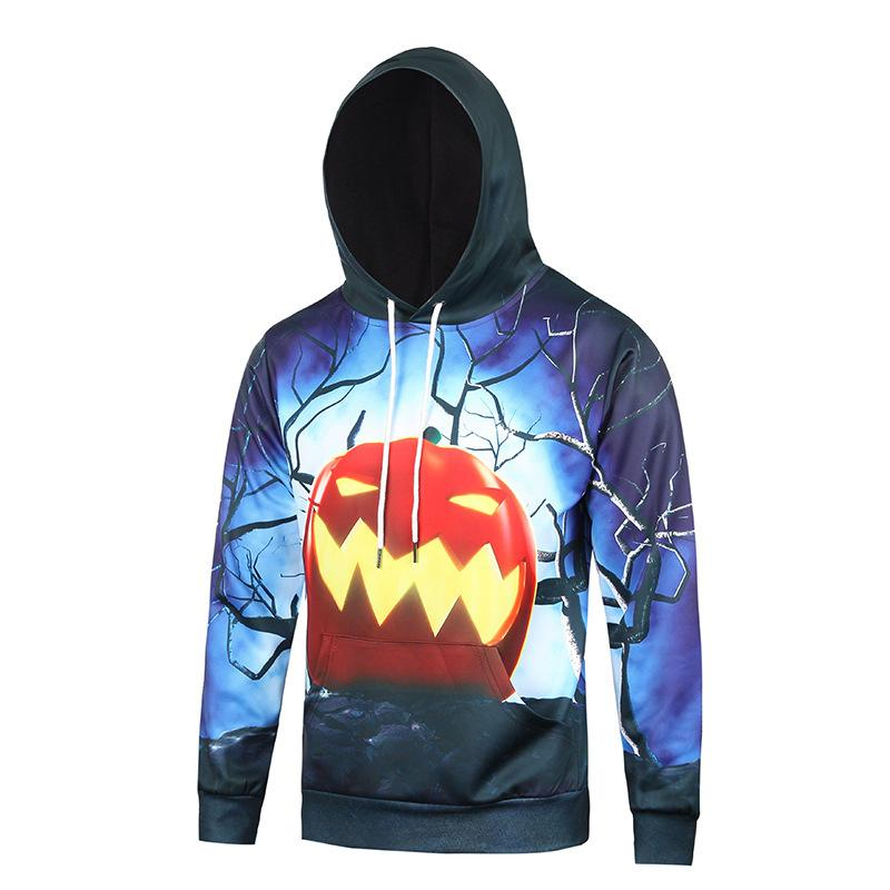 2018 Autumn Clothing New Number Printing Halloween Pattern Pullover Long Sleeve Motion Even Midnight