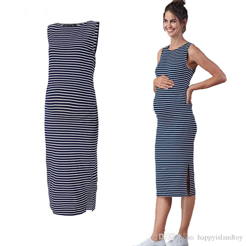 b15feae8da1de Summer Sleeveless Leisurely Maternity Dresses For Pregnant Women Blue  Striped Home Maternity Clothes O Neck Pregnancy Vestidos For Mother Canada  2019 From ...