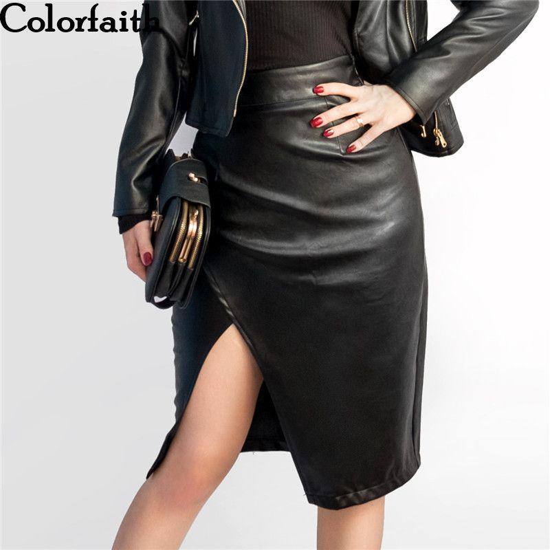 New 2017 Women Midi Skirt PU Leather Black High Waist Asymmetrical Sexy  Slit Pencil Skirt Bodycon Elegant Femininas SK8673 Y1891701 Dress In White  Party ... 5e51d3c307c2