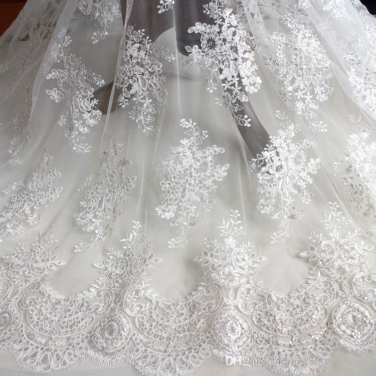 Black White French Vintage Fabric Embroidery Lace With Sequins ...