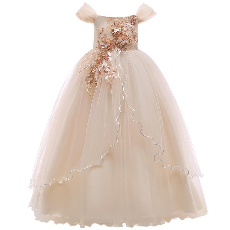 Compre Elegante Vestido De Princesa Para Niñas Boda Púrpura De Tul De  Encaje Vestido Largo Para Niña Fiesta Concurso Damas De Honor Vestido  Formal Para ... 2593f29a3341