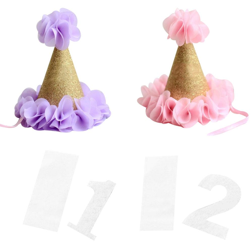 Diy Flower Crown Birthday Hat Cap With Numeral Kids Ceremony Festive