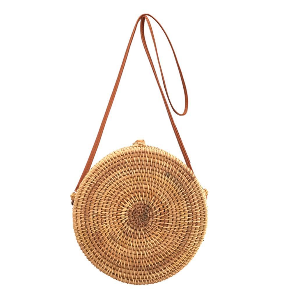 2018 Round Straw Bags Women Summer Rattan Bag Handmade Half Round Woven  Beach Cross Body Bag Circle Bohemia Handbag Bali 2 Style Hobo Bags Designer  Bags ... cab2126ce5007