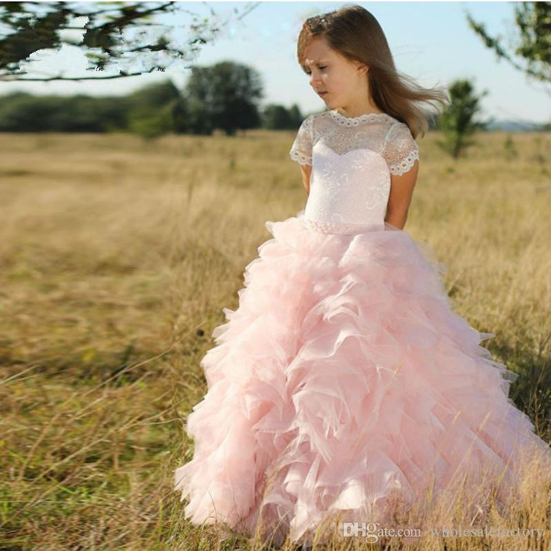Cute Pink Tulle Layered Ruffles A Line Flower Girls Dresses Short Sleeves Lace princess Wedding Party Gowns for Kids Lovely Girls 'Dresses