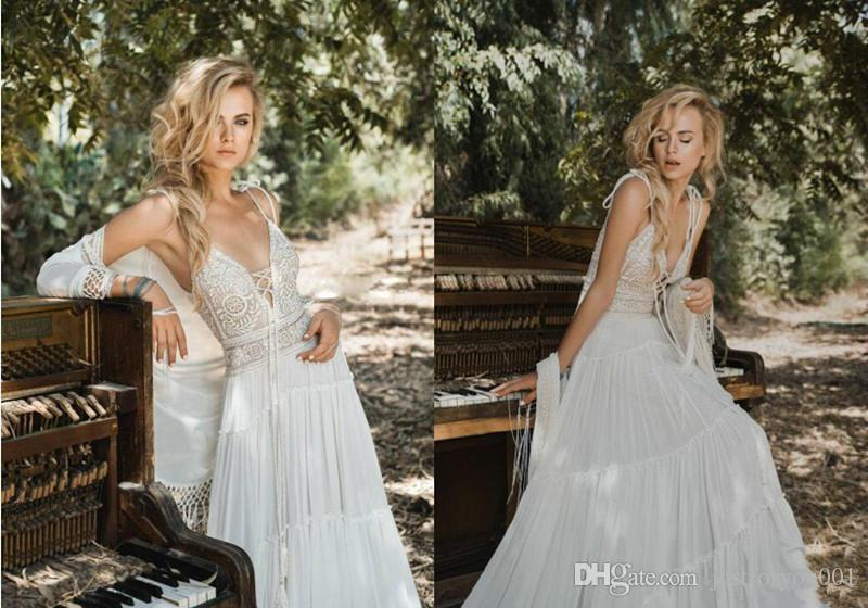 Discount 2018 Inbal Raviv Bohemian Beach Wedding Dresses