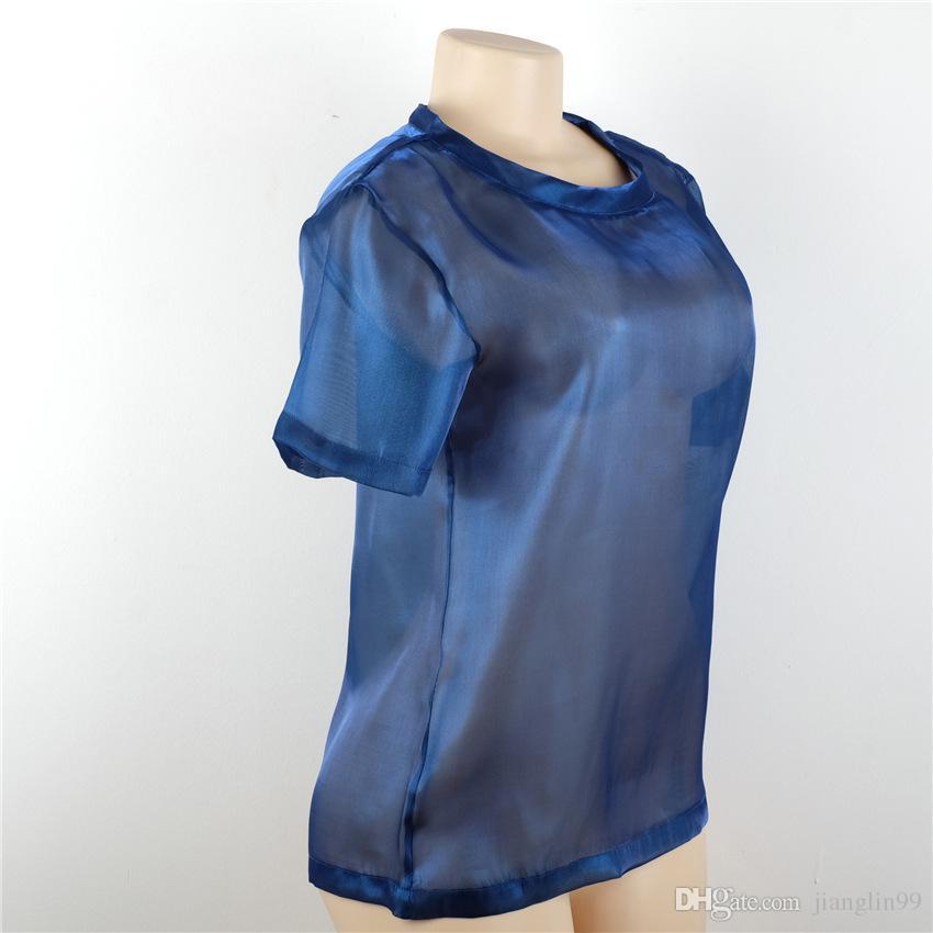Metal flash mesh t-shirt à manches courtes O collier été semi translucide brillant sexy couture lâche en gros
