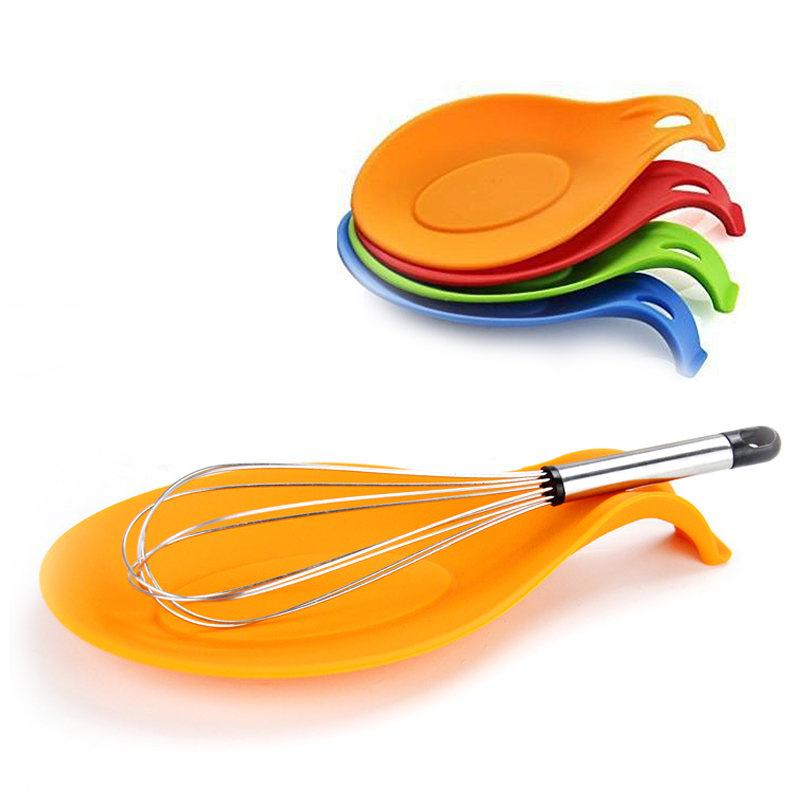 Silicone Spoon Rest Heat Resistant Kitchen Utensil Spatula Holder Cooking  Tool with 5 colors choice Kitchen Tools 1pc